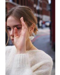 Anna + Nina - Silver Ginko Earrings - Lyst