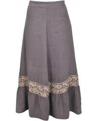 120% Lino - 120% Lino Taupe Embellished Midi Skirt - Lyst
