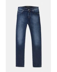 Jacob Cohen - Blue Straight Jeans With Green Brand Patch 0503-003 - Lyst