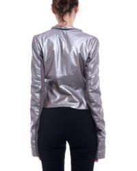 Rick Owens - Cropped Biker Jacket In Silver - Lyst