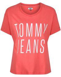 Tommy Hilfiger - Tommy Jeans Women's Tjw Cropped Logo T-shirt - Lyst