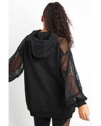 Ivy Park - Distressed Mesh Sleeve Hoodie Dress - Lyst