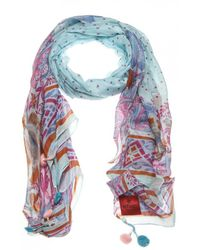 Erfurt - Modal / Viscose Print Scarf With Pom Poms - Lyst