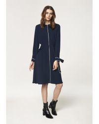 Paisie - Ruffled Pocket Dress With Contrast Piping Detail In Navy And White (with White Faux Leather Belt) - Lyst