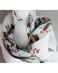 Atterley - Printed Silk Scarf Berry On White - Lyst
