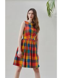 Emily and Fin - Abigail Plaid Pleated Dress - Lyst