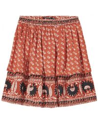 Maison Scotch - Ruffle Skirt With Print In Combo A - Lyst