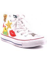 f3544cc61b4 Lyst - Converse All Star Mid Lux Glitter Wedge Sneaker in Black