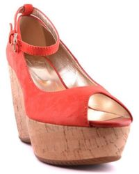 164be82eb9a Hogan - Women s Mcbi148057o Red Suede Wedges - Lyst