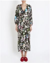 Momoní - Floral And Birds Print Anguria Dress In Green - Lyst