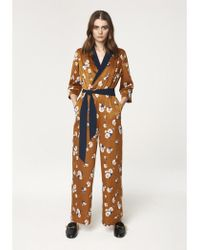 Paisie - Wrap Front Floral Jumpsuit With Contrast Lapel And Piping (with Self Belt) - Lyst