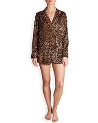 Love Stories - Edie Leopard Pyjama Shorts - Lyst