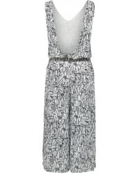 SELECTED - Gramma Cropped Printed Jumpsuit In White - Lyst