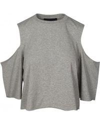 Kendall + Kylie - Grey Cold Shoulder T-shirt 17093tk - Lyst