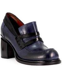 Malloni - Black Blue Heeled Moccasin 35 - Lyst