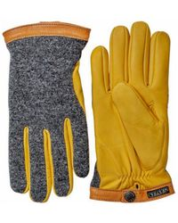 Hestra - Deerskin Wool Tricot Gloves Charcoal / Natural Yellow - Lyst