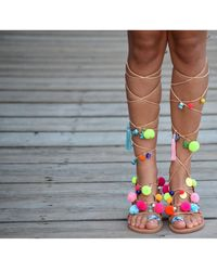 Atterley - Tie Up Sandals With Pompoms Multi - Lyst