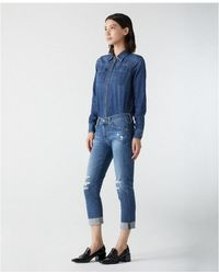 AG Jeans - Women's Pvc1575 The Ex-boyfriend Slim Blue Jeans - Lyst