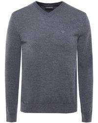 Armani - Armani Virgin Wool V-neck Logo Jumper - Lyst
