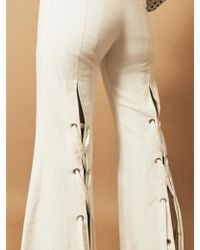 House Of Sunny - Denim Eyelet Trousers In White - Lyst
