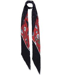 Rockins - Roses Classic Skinny Fringed Scarf In Black - Lyst