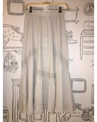 120% Lino - Lace Long Skirt In Soft Grey - Lyst