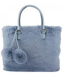 Essentiel - Antwerp Reponpon Pompom Faux Fur Bag Blue - Lyst