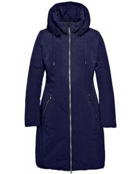 Creenstone - Mid Length Hooded Indigo Coat - Lyst