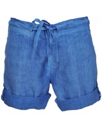 120% Lino - 120% Lino Shorts In Azure Blue - Lyst