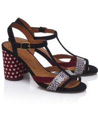 Chie Mihara - Ujo Sandals In Black And Aubergine - Lyst