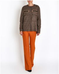Saucony - Checked Collar Less Jacket In Beige - Lyst