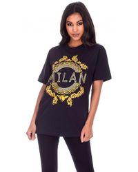 AX Paris | Black Milan Slogan T-shirt | Lyst