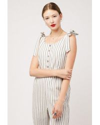 Azalea - Shoulder Tie Stripe Jumpsuit - Lyst