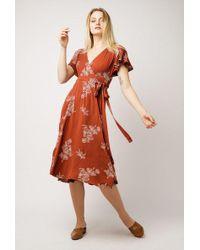 Azalea - Floral Wrap Midi Dress - Lyst