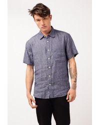 Corridor NYC - Micro Floral Linen S/s Shirt - Lyst