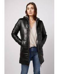 Doma Leather - Puffer Hooded Straight Long Coat - Lyst