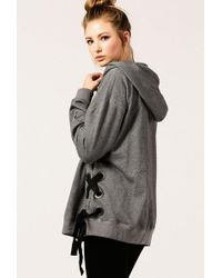 Azalea - Lace Up Side Oversized Hoodie - Lyst