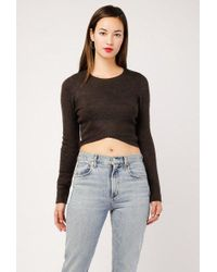 Azalea - Draped Fuzzy Crop Sweater - Lyst