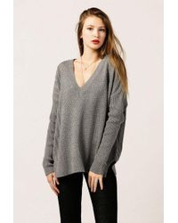 Azalea - Long Sleeve V Neck Rib Sweater - Lyst