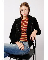 Azalea - Genuine Suede Moto Jacket - Lyst