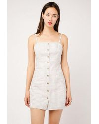 Azalea - Mini Stripe Button Down Dress - Lyst