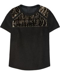 Isabel Marant Calf Hair-Paneled Wool-Felt Top - Lyst