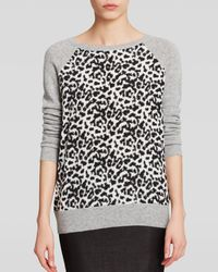 C By Bloomingdale's Cheetah Silk Front Cashmere Sweater - Lyst