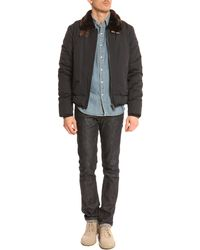 Schott Nyc Bm Navy Blue Lined Sherpa Jacket With Leather Detail - Lyst