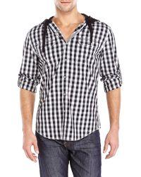 DKNY Hooded Gingham Shirt black - Lyst