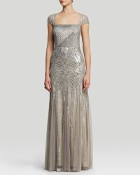 Adrianna Papell Gown  Cap Sleeve Open Back Beaded Godet - Lyst