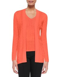 M Missoni Solid Chevron Knit Cardigan - Lyst