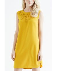Oasis Libby Crepe Trim Shift yellow - Lyst