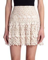 Alice + Olivia Jayce Lace Mini Skirt beige - Lyst
