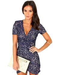 Missguided Loannah Lace Wrap Dress in Navy - Lyst